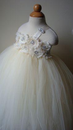 Flower girl dress Ivory tutu dress by Theprincessandthebou
