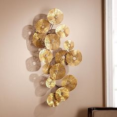 Aura Abstract Wall Sculpture - Southern Enterprises static walls will beg for this dynamic, multi-textured wall sculpture. Hammered gold circles dance along a delicate metal spindle, as dainty flowers opening end to end upon a trembling tree br Modern Wall Sculptures, Metal Wall Sculpture, Sculpture Art, Luxury Home Accessories, Wall Accessories, Deco Originale, Creation Deco, Metal Wall Decor, Resin Crafts