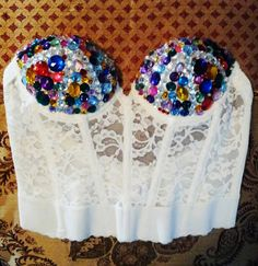 Multicolored Bedazzled Corset by thriftlove44 on Etsy, $50.00