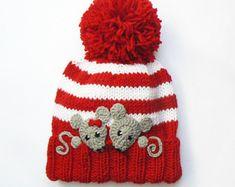 Knit Hat, Kids Winter Hat, Knit Beanie Hat, Pom Pom Hat, Beanie Hat, Mice Applique, Hand Knitted Hat, Toddler Girls Hat, Animal Hat, Ski Hat