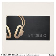Cool Bold DJ Gold Headphones Black Music Double-Sided Standard Business Cards (Pack Of This great business card design is available for customization. All text style, colors, sizes can be modifi (Cool Designs For Cards)