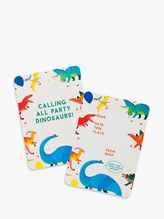 Buy Talking Tables Party Animals Dinosaur Party Invitations, Pack of 8 from our Notecards & Invitations range at John Lewis & Partners. Animal Party, Party Animals, Note Cards, Thank You Cards, Dinosaur Party Invitations, Name Day, Party Shop, Invite Your Friends, Tables