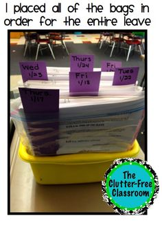 Clutter-Free Classroom: How to Plan for a Sub for More Than a Day. classroom idea, clutterfre classroom, plan, school stuff, french teacher, educ, classroom organ, teacher org, teach idea