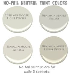 No-Fail Neutral Paint Colors. No-Fail Neutral Paint Colors for walls and cabinet. No-Fail N Interior Paint Colors For Living Room, Paint Colors For Home, House Colors, Interior Painting, Paint For Kitchen Walls, Paint Color Schemes, Wall Paint Colors, Benjamin Moore Paint, Benjamin Moore Nimbus