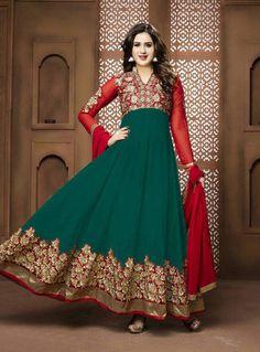 Green Georgette Long Anarkali Suit 90612
