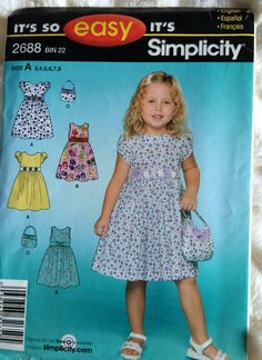 Simplicity Toddler Girls Sundress Dress  Sewing Pattern 2688 UC FF Uncut Size 3 4 5 6 7 8