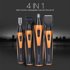 4 in 1 Portable Rechargeable Nose Ear Hair Trimmer Set Wireless Men Cutter Beard Shaver Face Eyebrow Nose Hair Removal Device - THC Eyebrow Trimmer, Nose Hair Trimmer, Oily Hair, Wet Hair, How To Trim Eyebrows, Texas Hair, Hair Removal Devices, Hair Removal For Men, Eyebrows