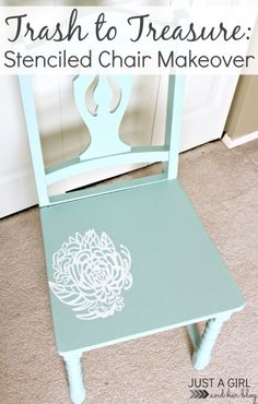 Trash to Treasure: Stenciled Chair Makeover Stencils, Diy Projects Cans, Redo Furniture, Painted Furniture, Chair Makeover, Furniture Inspiration, Furniture Makeover, Craft Room, Stencil Furniture