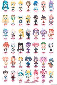 Chibi, Vocaloid, Hatsune Miku, Kagamine Rin, Kagamine Len, Meiko, Kaito…