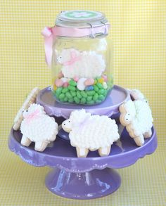 -different kind of dessert in a jar {sugar cookie decorated with royal icing}