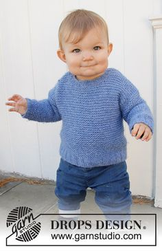 Baby Blue Note - Knitted sweater for babies and children in DROPS Air. The piece is worked top down with garter stitch. - Free pattern by DROPS Design Easy Baby Knitting Patterns, Baby Cardigan Knitting Pattern, Easy Knitting, Baby Patterns, Crochet Patterns, Start Knitting, Sock Knitting, Sweater Patterns, Finger Knitting