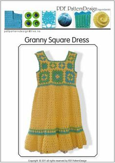 CROCHET PATTERN   GRANNY SQUARE TODDLER DRESS