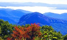 Looking Glass Rock from the Blue Ridge Parkway in North Carolina with some fall color
