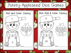 Johnny Appleseed Roll and Color Dice Game. Students can learn number associations with dice games. I keep a number line on the desk to help students associate numerals with the dots on the dice. I also added color words to this sheet to help students learn color words and add a following directions component.