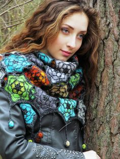 """Forest echo"" (crochet shawl, wrap, motif lace, wool shawl, crochet drops…"
