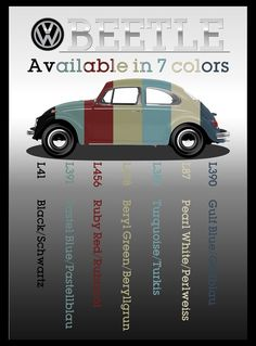 "VW BEETLE - Color Codes Art Giclee Poster Print 24""x18"" - Volkswagen Bug TYPE 1"