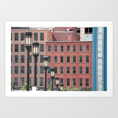 City Street Lights with Red Buildings in the Background Boston Photography by shyphotog via Etsy Straight Photography, City Streets, City Life, Facade, Street Lights, Multi Story Building, Red, Buildings, Design