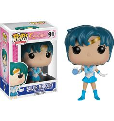 This is a Funko Sailor Moon POP Sailor Mercury Vinyl Figure. Standing inches tall, the Mercury POP Vinyl figure is super cute! It's great to see that the Sailor Moon characters finally got their Sailor Moon Luna, Sailor Chibi Moon, Sailor Neptune, Sailor Uranus, Sailor Mars, Sailor Mercury, Pop Vinyl Figures, Funko Pop Figures, Sailor Scouts