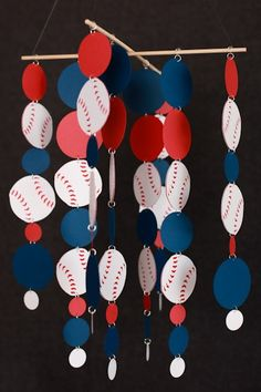 Baseball birthday decorating... construction paper glue & staples possibly also chopsticks..