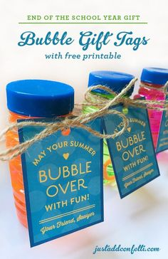 End of the School Year Bubble Gift Tags with Free Printable - Just Add Confetti