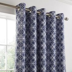 Dunelm Geometric Blue Amal Eyelet Blackout Curtain