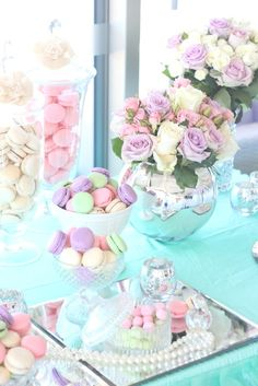 A desert table can be the pièce de résistance to any celebration. Why have a single dessert when you can offer the full pastel pastry rainbow? Wedding Desserts, Wedding Cakes, Floral Wedding, Wedding Colors, Wedding Pastel, Spring Wedding, Trendy Wedding, Macarons, Pastell Party