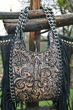 Kippy's Black and Tan Fleur De Lis Leather Purse