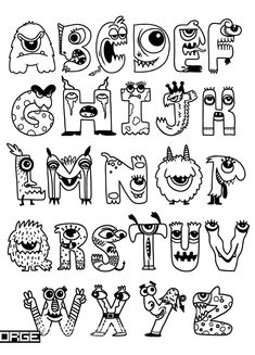 Halloween alphabet with funny monster characters,Monster Cartoon font lettering hand lettering calligraphy brush lettering tutorial art Hand Lettering Alphabet, Doodle Lettering, Creative Lettering, Lettering Styles, Font Styles Alphabet, Cool Fonts Alphabet, Doodle Alphabet, Alphabet Board, Doodle Fonts