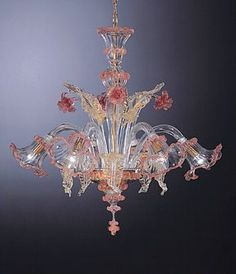 Murano glass chandelier rose pink, clear and champagne Murano Chandelier, Luxury Chandelier, Antique Chandelier, Chandelier Lighting, Crystal Chandeliers, Venetian Glass, Oil Lamps, Lamp Light, Decoration