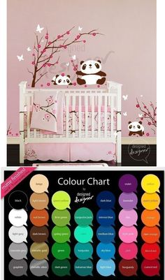 Pandas In Cherry Blossom Tree Wall Decal - Wall Sticker Outlet - trying to find a cherry blossom tree decal similar to one in a bedroom photo I found....this one can be customized.