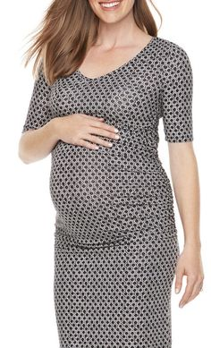 c73ce0008355d Maternity a:glow AGLOW Black Print S/S Ruched Jersey Midi Sheath Dress NWT