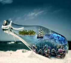 ⭐Pirate Ship in a Bottle⭐