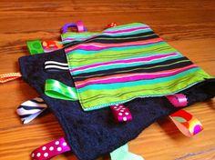 Crinkle tag rag sensory blanket Sassy girl theme by NapTimeMakings, $12.00