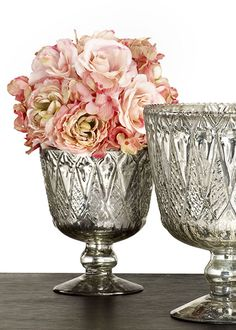 Vintage-Look Patterned Silver Mercury Glass Coupes