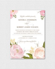 PRINTABLE Wedding Invitation - Romantic Watercolor Peonies and Roses Invitation - Vintage Floral Chic Wedding Suite