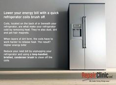 Reduce your energy bill by cleaning your refrigerator's coils Diy Kitchen Appliances, Energy Bill, Ways To Save Money, Spring Cleaning, Refrigerator, Budgeting, Make It Yourself, Kitchen Equipment, Refrigerators