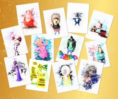 SING movie SET 12 watercolor prints collection posters SING