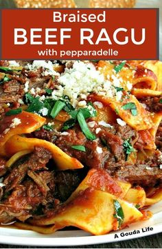 Braised Beef Ragu with pappardelle pasta ~ slow cooked tender beef shredded in a rich homemade tomato sauce over pappardelle pasta. Delicious Sunday Supper comfort meal.  #braisedbeef #beef #beefragu #ragu #sundaysupper  #pasta