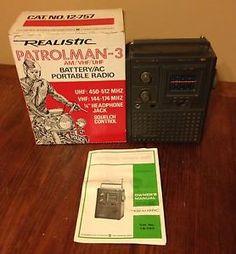 Realistic Patrolman 3 Am VHF UHF Battery AC Portable Radio 12 757 Vintage Box | eBay