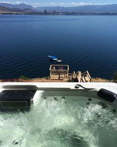 Take a soak in your hot tub after a tour of the lake on the spedboat