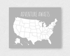 DIY Travel Pin Board Map USA Map with Foam by PaperPlanePrints