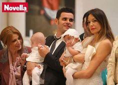 Alessia Fabiani durante il battesimo dei suoi bimbi