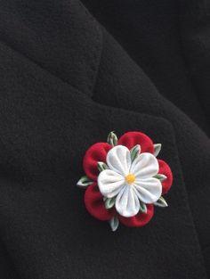 e7bf34671f46 Mens Lapel Pin Flower Lapel Pin Red Lapel Flower Tudor Rose Kanzashi Brooch  Custom Lapel Pin Men Wedding Boutonniere Groomsman Gift For Men