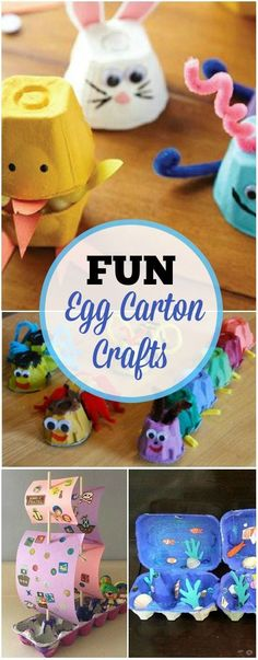 Cool crafts for kids! 3 Creative Egg Carton Crafts For Kids Kindergarten Crafts, Preschool Crafts, Easter Crafts, Kids Crafts, Easy Crafts For Toddlers, Preschool Apples, Craft Activities For Kids, Projects For Kids, Diy For Kids