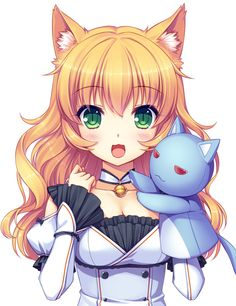 original sayori neko works 1girl :3 bell blonde blush breasts collar :d dress green eyes long hair macaron (character) macaron tart nekomimi smile solo stuffed cat stuffed toy toy wavy hair