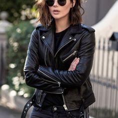 Veste en cuir femme col motard