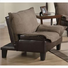 Lowest price online on all Coaster Twill Microfiber Convertible Sofa Bed in Brown - 300303