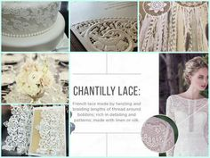 The inspiration for this mood board is Chantilly Lace.  Lace has surprisingly little inherent meaning, as it varies so much depending on when, where and how it is used.  AKA would recommend using elements of lace in various aspects of your Chantilly wedding ... right down from your wedding invite (talk about classy !) down to the intricate design details on your wedding cake. #IDreamofChantilly #ExperienceFrance