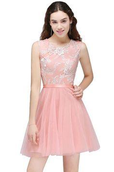 5dc6fcdb45 Lexi - Short Lace Chiffon Evening Gown