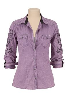 Maurices Premium Stud and Scroll Print Button Down Shirt available at #Maurices I like very unique.